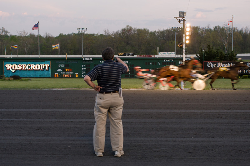 The official finish-line photographer at work