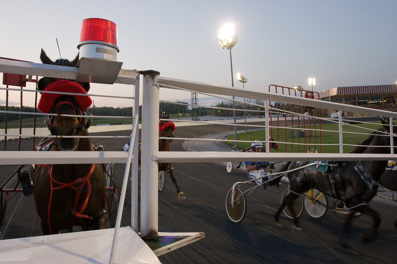 The starters car gets the horses up to speed