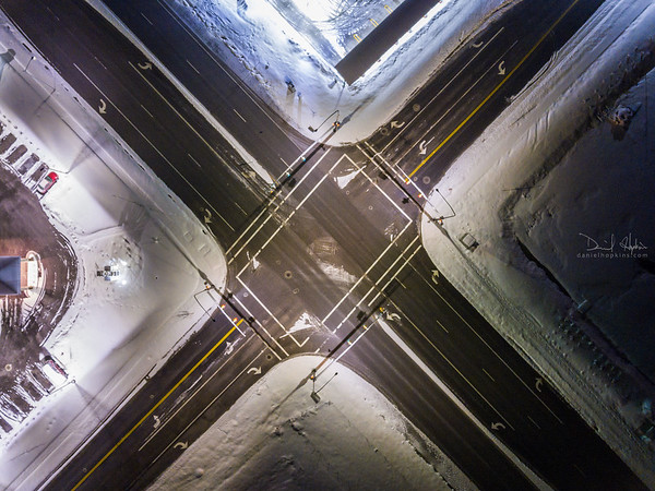 Intersection on a Winter Night