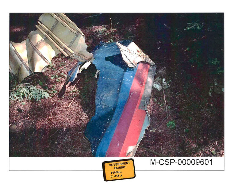 Photograph of an airplane part found at the scene in Somerset County, Pennsylvania, where Flight 93 crashed.