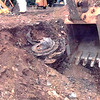 Photograph of an airplane part found in the crater at the scene in Somerset County, Pennsylvania, where Flight 93 crashed.