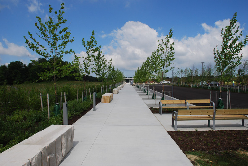 July 2011: Sidewalk approach to the Memorial Plaza (Paul Murdoch Architects.)