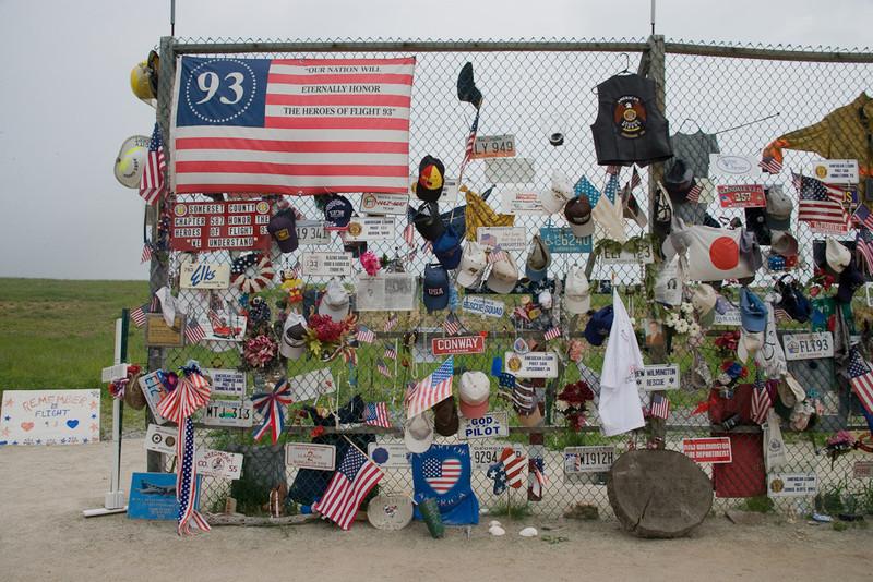 Temporary memorials at Shanksville, PA.[@ Carol M. Highsmith]