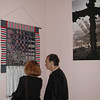 New York, NY, September 12, 2002 -- A couple looks at a memorial quilt that is part of an exhibit at the St Paul's Church to remember those who lost their lives last September 11th. <br /> <br /> Photo by Lauren Hobart/FEMA News Photo