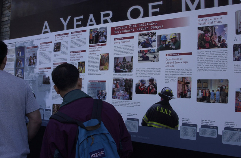New York, NY, September 12, 2002 -- An exhibit at St Paul's Church near Ground Zero stops people from all over the world who want to honor and remember those who lost their lives September 11th, 2001.<br /> <br /> Photo by Lauren Hobart/FEMA News Photo