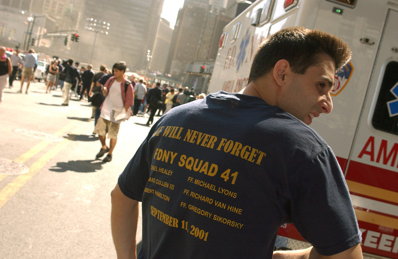 New York City,NY Sept 11 2002--<br /> Hillcrest, NY firefighter Chris Agazzi attends a  9/11 Observance at Ground Zero.<br /> <br /> Photo by Andrea Booher/FEMA News Photo