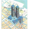Map of the World Trade Center area depicting the paths of Flights 11 and 175.