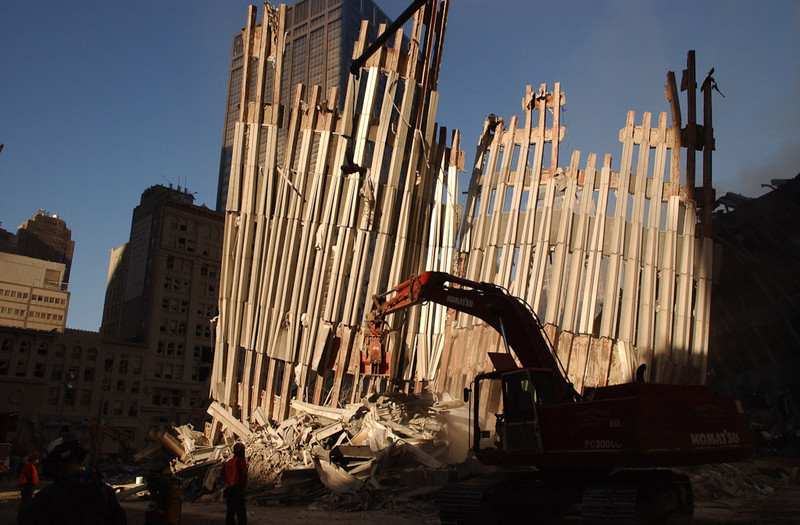 New York, NY, September 13, 2001 --  Workers clear debris from the World Trade Center wreckage using frontloaders and cranes.<br /> <br /> Photo by Andrea Booher/ FEMA News Photo
