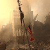 New York City, NY, September 13, 2001 -- The airplane alert antenna sits firmly in the ground amidst the rubble. Originally it was on the roof of the World Trade Center.<br /> <br /> Photo by Andrea Booher/ FEMA Photo News