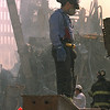 New York, NY, September 13, 2001 -- Fire fighters continue to battle smouldering fires and clean up the wreckage at the World Trade Center.<br /> <br /> Photo by Andrea Booher/ FEMA News Photo