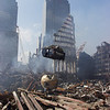 New York, NY, September 21, 2001 -- Workers use cranes to haul tons of rubble from the site of the World Trade Center.<br /> <br /> Photo by Michael Rieger/ FEMA News Photo