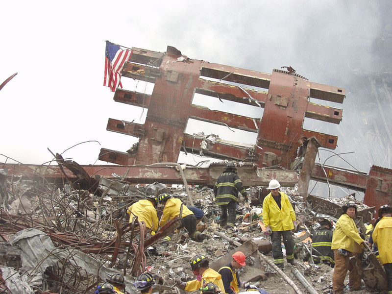 New York, NY, September 20, 2001 -- Rescue workers comb through a section of wreckage at the World Trade Center site.<br /> <br /> Photo by Mike Rieger/ FEMA News Photo