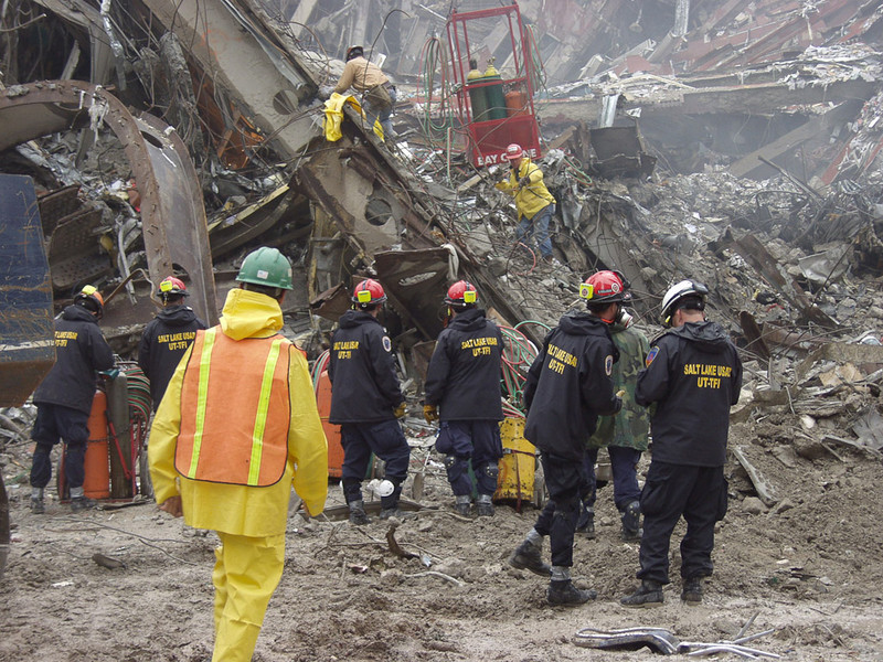 New York, NY, September 20, 2001 -- Rescue workers from the Utah Task Force-1 Urban Search and Rescue team prepare to enter the World Trade Center crash site.<br /> <br /> Photo by Mike Rieger/ FEMA News Photo