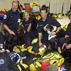 New York, NY, September 20, 2001 -- FEMA Urban Search and Rescue team, from left to right, D. Tosch, H. Orr, K. Gordon, R. Weckbacher and M. Scott, pose for a portrait with their dogs.<br /> <br /> Photo by Michael Rieger/ FEMA News Photo