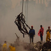 New York, NY, September 20, 2001 -- Workers use cranes to clear twisted metal from the pile of rubble at the World Trade Center. The clean up operation is expected to take months.<br /> <br /> Photo by Andrea Booher/ FEMA News Photo