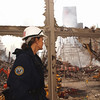 New York, NY, September 20, 2001 -- FEMA worker looks out at the site of the World Trade Center.<br /> <br /> Photo by Andrea Booher/ FEMA News Photo