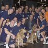 New York, NY, September 20, 2001 -- A Sacremento, California Urban Search and rescue team  pause for a picture with Chevy Chase who came to offer his thanks for their work at the World Trade Center crash site.<br /> <br /> Photo by Mike Rieger/ FEMA News Photo