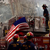 New York, NY, September 21, 2001 -- New York firefighters and Salt Lake City Urban Search and Rescue crews gather at the site of the clean up operations underway at the collapsed World Trade Center.<br /> <br /> Photo by Michael Rieger/ FEMA News Photo