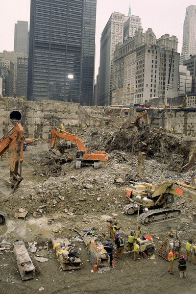 New York, NY, March 15, 2002 -- A perspective shot of the southeast corner, western half of the World Trade Center site. <br /> <br /> Photo by Larry Lerner/ FEMA News Photo