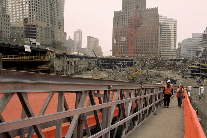 New York, NY, March 15, 2002 -- The view looking down into the pit of the World Trade Center site from the ARCO bridge, which is used to allow heavy machinery to access the pit.<br /> <br /> Photo by Larry Lerner/ FEMA News Photo