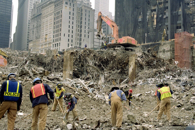 New York, NY, March 15, 2002 -- This portion of Ground Zero of the World Trade Center is used as a sorting area to sort out the thousands of tons of debris still left.<br /> <br /> Photo by Larry Lerner/ FEMA News Photo