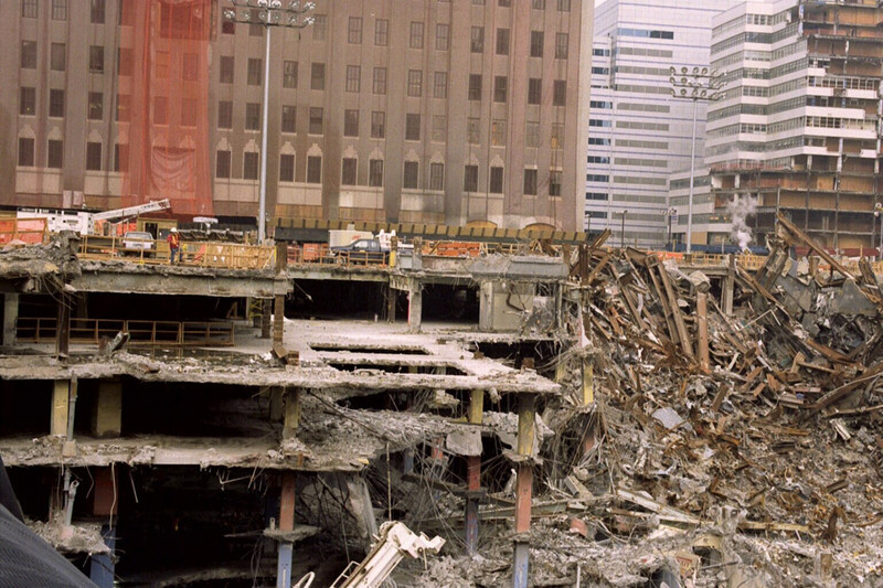 New York, NY, March 15, 2002 --  Several floors up to ground level of the North Tower of the World Trade Center are still standing. This area is at the northeaset corner of the site, which was destroyed by a terrorist attack over six months ago.<br /> <br /> Photo by Larry Lerner/ FEMA News Photo