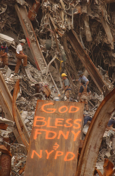 New York, NY, September 23, 2001 -- A dedication to the New York Police and Fire Departments, which have been instrumental in the ongoing rescue and clean up operations underway at the World Trade Center.<br /> <br /> Photo by Andrea Booher/ FEMA News Photo