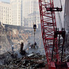 New York, NY, September 22, 2001 -- Workers are using cranes and heavy machinery to clear rubble from the site at the World Trade Center.<br /> <br /> Photo by Michael Rieger/ FEMA News Photo