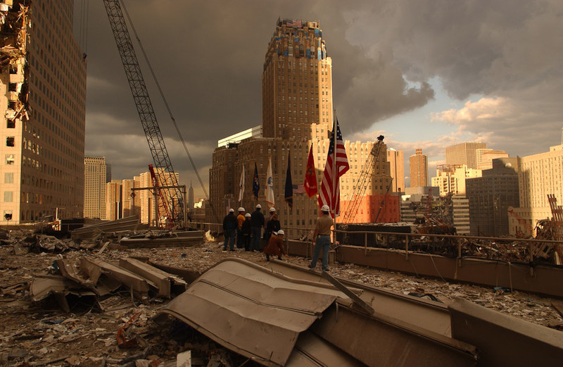New York, NY, September 28, 2001 -- Debris on surrounding roofs at the site of the World Trade Center.<br /> <br /> Photo by Andrea Booher/ FEMA News Photo