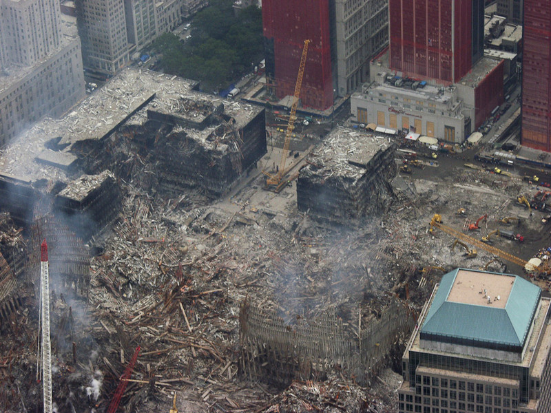 New York, NY, September 29, 2001 -- An aerial view of the recovery operations underway at the World Trade Center.<br /> <br /> Photo by Michael Rieger/ FEMA News Photo