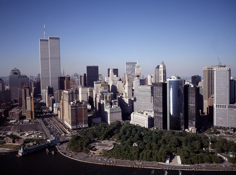 Aerial view of New York City, in which the World Trade Center Twin Towers are prominent.  Aerial taken a couple of months before the 9/11 tragedy.