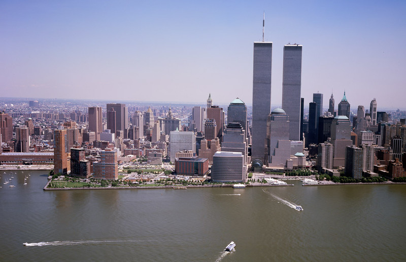 Aerial view of New York City, in which the World Trade Center Twin Towers is prominent. Aerial was taken a couple of months before the 9/11 tragedy.[© Carol M. Highsmith]