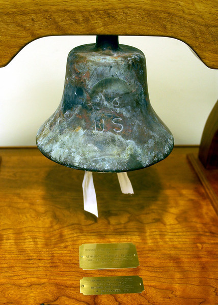 020911-N-4868G-006<br /> Pentagon, Arlington, Va., (Sep. 11, 2002) -- A bell donated by the late Adm. Arleigh Burke, the Navy's most famous destroyer squadron combat commander and three-time Chief of Naval Operations, was recovered from the rubble after the Sept. 11, 2001, attack on the Pentagon.  The bell is now on display in the Navy Operations Center.  The center, destroyed in the attack, was completely rebuilt and fully functional within months.  U.S. Navy photo by Chief Photographer's Mate Philomena Gorenflo.  (RELEASED)