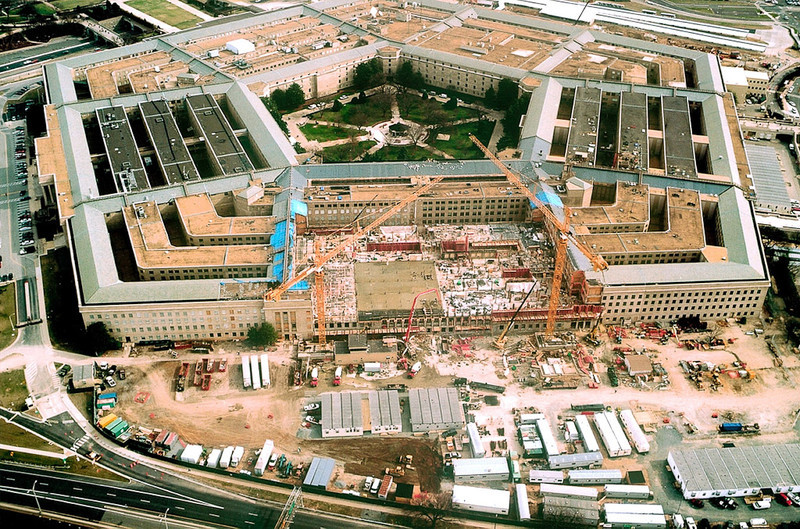 020206-D-0000G-004<br /> Arlington, Va. (Feb 6, 2002) -- Reconstruction of the Pentagon continues nearly around-the-clock as construction crews pour cement for floors and walls on  to replace those damaged in the Sept. 11, 2001, terrorist attack on the building.  DoD photo by Grant Greenwalt.  (Released)