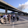010911-N-6157F-005<br /> Arlington, Va. (Sept. 11, 2001) -- Military and civilian personnel move down highway I-395 after evacuating the Pentagon after terrorists hijacked and crashed a commercial airliner into the southwest corner of the building.  American Airlines FLT 77 was bound for Los Angeles from Washington Dulles with 58 passengers and 6 crew.  All aboard the aircraft were killed, along with 125 people in the Pentagon.  U.S. Navy Photo by Journalist 1st Class Mark D. Faram (RELEASED)