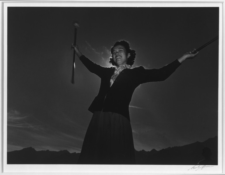 2000-07-13: Baton practice, Florence Kuwata, Manzanar Relocation Center