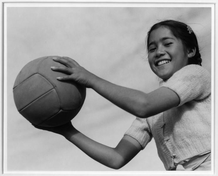 2000-07-13: Girl and volley ball, Manzanar Relocation Center, California