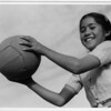 2000-07-13: Girl and volley ball, Manzanar Relocation Center, California