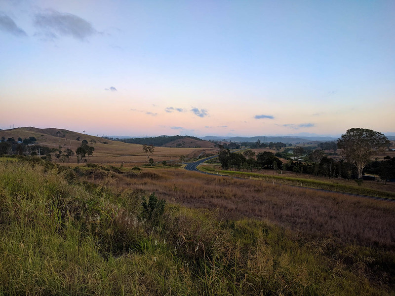 View to the Brisbane Valley Rail Trail from the lookout at Harlin