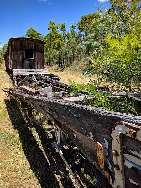 Abandoned train carriages at Linville Station