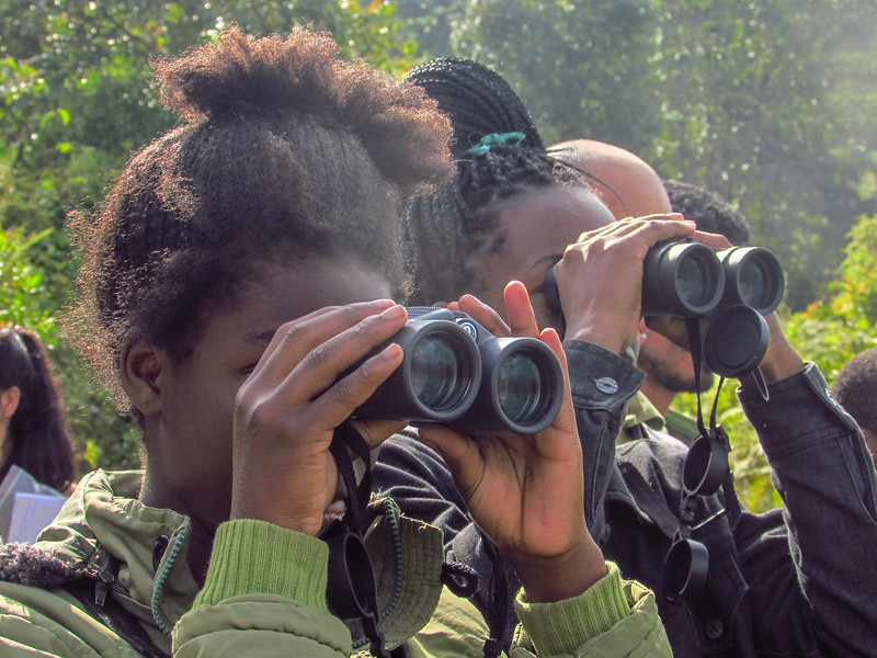 Women from La Alsacia monitoring animals and birds.