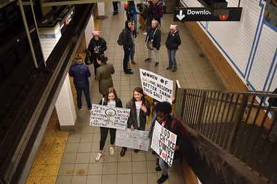Columbia University Students waiting for the 1 train down to the protest early in the day.