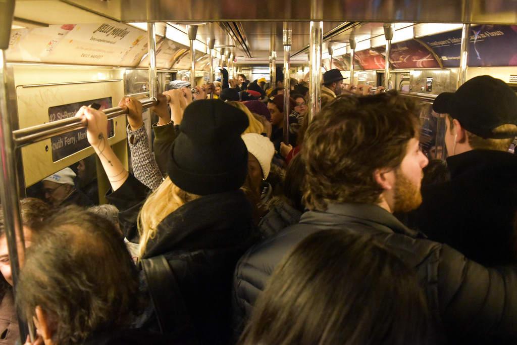 The subway cars down to W 72nd Street were full to capacity.