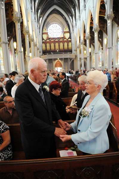 George and Mary Downing, of Quincy, renew their wedding vows during a Wedding Anniversary Mass at the Cathedral of the Holy Cross in Boston, Sunday, June 26, 2011. They have been married for 50 years. (Photo/Lisa Poole)