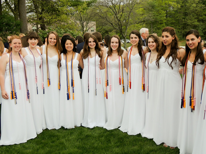 Notre Dame Academy's graduation 2014. NDA graduates have worn white graduation gowns since the first class in 1853.<br /> Pilot photo/ Courtesy Notre Dame Academy