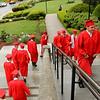 Catholic Memorial grads enter Holy Name Church amid a light rain on Thursday May 22, 2014.<br /> Pilot photo/ Patrick E. O'Connor
