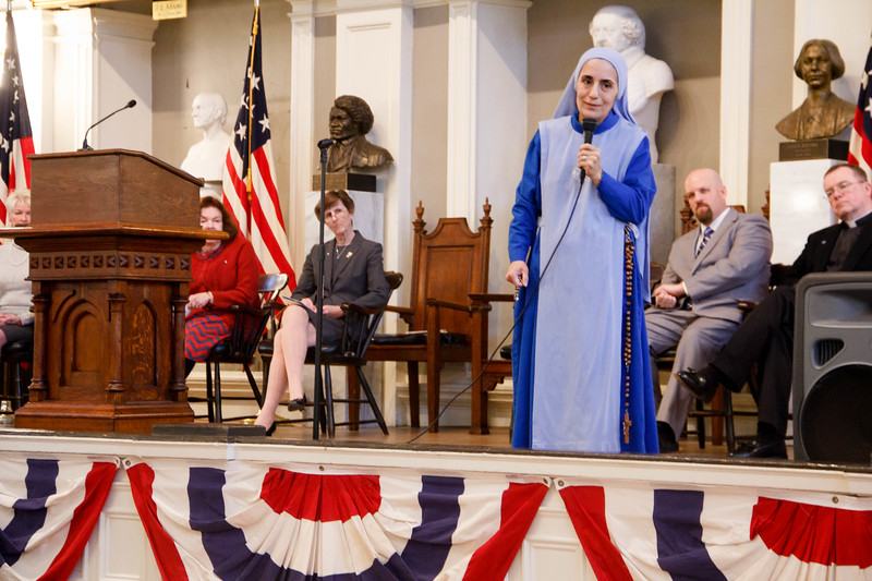 Massachusetts Citizens for Life's annual Assembly for Life, held at Faneuil Hall Boston, Jan. 22, 2017.<br /> Pilot photo/ Mark Labbe