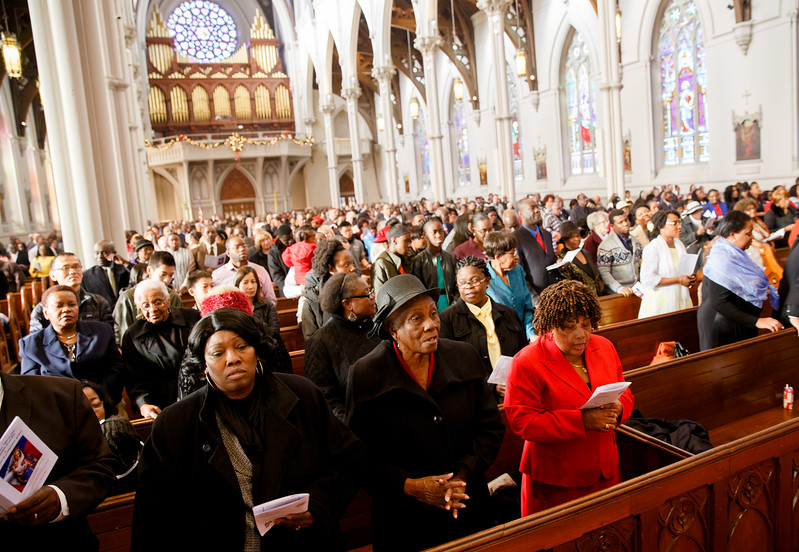 Cardinal Seán P. O'Malley celebrates Mass with the Haitian community of Boston at the Cathedral of the Holy Cross Jan. 1, 2017.<br /> Pilot photo/ Gregory L. Tracy