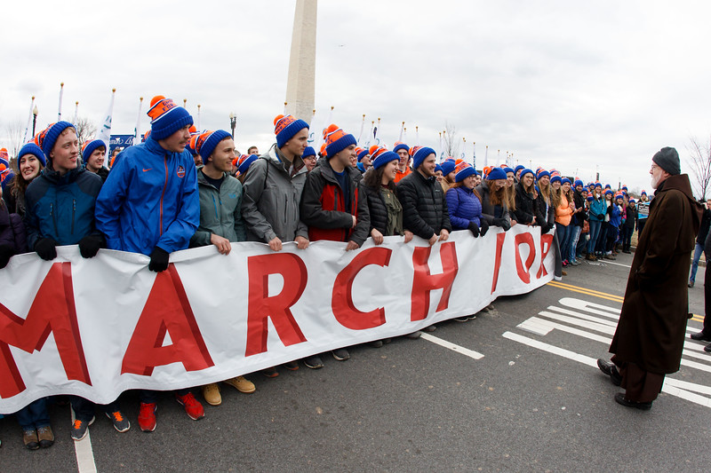 Cardinal Sean P. O'Malley participates in the 44th annual March for Life in Washington, D.C., Jan. 27, 2017. The cardinal has participated in every march since its inception in 1973.<br /> Pilot photo/ Gregory L. Tracy