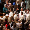 Clergy take part in the opening procession of the Vigil Mass for Life, held Jan. 26 at the Basilica of the National Shrine of the Immaculate Conception in Washington, D.C. The principal celebrant of the Mass was New York Cardinal Timothy Dolan.<br /> Pilot photo/ Gregory L. Tracy